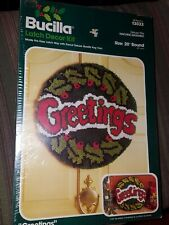 "Vintage Bucilla Latch Hook Decor Kit Greetings Holiday 20"" Round 13033 Christmas"