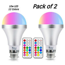 Colour Changing Light Bulbs 10W B22 RGBW LED Bulbs Dimmable Remote Pack of 2