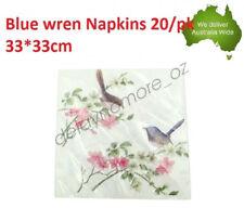 PK20 Blue Wren Napkins Luncheon paper Napkin 3ply Flower wedding Party Serviette