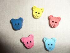 5 kleine bunte Holzknöpfe, 2 cm, *BÄRENKOPF* für Puppen-,Bären- & Kinderkleidung