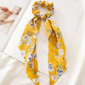 Women Streamers Scrunchies Dot Floral Print Elastic Bow Hair Rope Girl Hair Ties