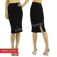 New Dark Denim Cotton Blend Below Knee Sexy Woman Pencil Skirt w/ Slit Zipper US