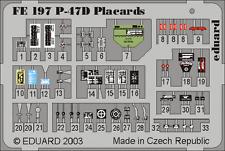 Eduard Zoom FE197 1/48 P-47D Thunderbolt Placards