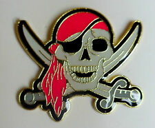 Red Scarf Jolly Roger Skull and Cross Swords Pirate Lapel Pin Hat Tie Tac Rebel