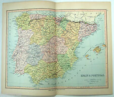 Original Map of Spain & Portugal by Wm Collins Sons & Co 1875