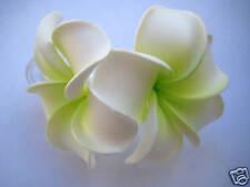 Hawaiian Hawaii Bridal Wedding Foam 2-Flower Hair Clip White Green Plumeria