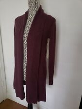 NWT$199 Cynthia Rowley Berry 100%Cashmere Cardigan Open Front Textured Detail S