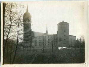 Orig. Foto WITTENBERG Blick Schlosskirche, Wäsche auf der Leine 20/30erJa.