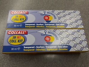 Collall 3d decoupage odourless sillicon glue 2 x 80ml Tube, syringe and key.