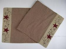 "Stars & Berry Vines Country Primitive Burgundy Check Table Runner 13"" x 54"""