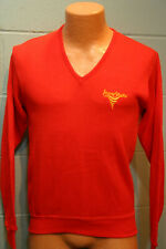 S Vtg 1970s RED Iowa State University Sweater V Neck Cyclones SPELL OUT 70s 80s