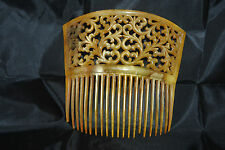 """Offered is a Vintage fan style fancy 5 1/2"""" golden colored hair comb"""