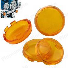 4Pcs Turn Signal Light Indicator Amber Lenses Lens For Harley 2000-up FLRT FXSB