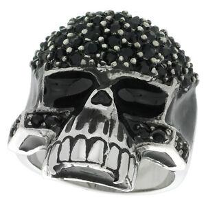 Stainless Steel Biker Skull Ring w/ Black CZ Stones Covered Forehead & Cheeks