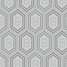 Grey Retro Geometric Funky Wallpaper Glitter Sparkle Textured Entity Grandeco