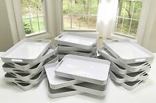 NEW Solid Pure WHITE Food-Beverage Serving Tray Platter Cut-Out Handles Melamine