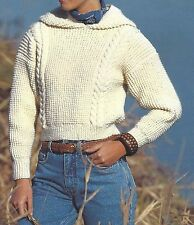 LADIES GIRLS ARAN SWEATER WITH HOOD  KNITTING PATTERN 32 to 40 inch (1208)