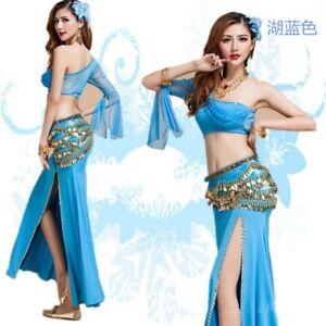 Belly Dance Costume Bollywood Costume Carnival Party Top Skirt Belt Bracelet Set