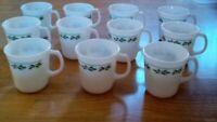 Corning Pyrex Holly Days Milkglass Christmas Mugs.