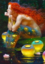 Art decor fantasy Vintage mermaid Oil painting Picture Printed on canvas v9