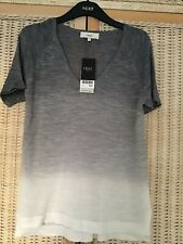 Next Grey/White Ombre Short Sleeve Linen/Knit Top. Size 12. New.