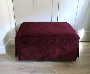 POTTERY BARN Charleston Ottoman Slipcover Burgundy Velvet - New