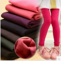 Girl Kids Winter Warm Fleece Lined Thick Leggings Stretchy Thermal Pants Trouser