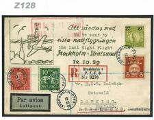 Z128 1929 SWEDEN AVIATION Stralsund *Last Night Flight*Illustrated Cover Surrey