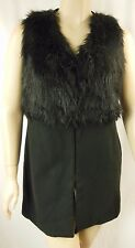 City Chic Black Fur Trim Sleeveless Rococo Vest Jacket Plus Size S 16 #p60