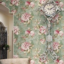 """Vintage Green/Pink Roses Flower Gold Wallpaper Roll home wall decor 20.8""""x393.7"""""""