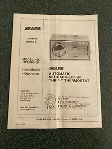 SEARS AUTOMATIC SET-BACK/SET UP THRIF-T THERMOSTAT Owners Manual NICE
