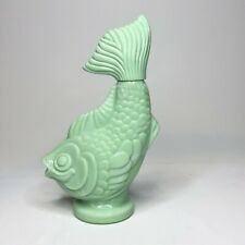 Vintage Avon Jadeite Green Milk Glass Koi Fish Bubble Bath Bottle - Empty