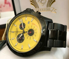 Cavadini Mirage Pilot Chronograph Men's Watch Solid Steel IP-Black Yellow 2018