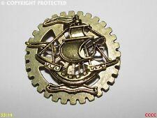 steampunk badge brooch pin gold pirate ship frigate schooner cog gearwheel #NC19