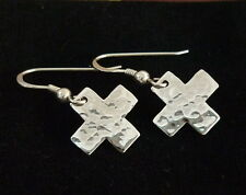 New Cross Hammered Square Earrings Women 925 Sterling Silver Drop Dangle jewelry