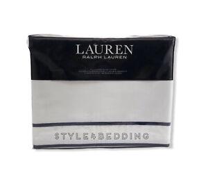 Ralph Lauren Spencer Cotton Sateen Border WHITE & NAVY Queen Duvet Cover $285