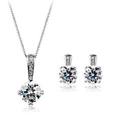 18K WHITE GOLD PLATED & GENUINE CZ & AUSTRIAN CRYSTAL NECKLACE & EARRING SET