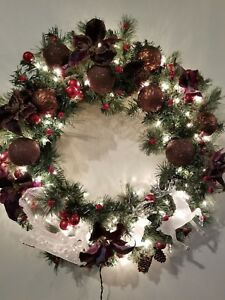 """Lighted Christmas Holiday Wreath Decoration 30"""" Crystal Sleigh & Reindeer Red"""