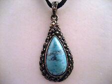Dark Silver Tone Black Leather Chain Necklace Turquoise Tribal Teardrop Pendant