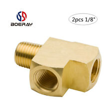 "2pcs 1/8"" NPT Female  and Male Pipe  Brass Barstock Street Tee pipe hose Fitting"