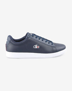 Lacoste Mens Carnaby EVO Trainers Navy White Leather Textile Shoes All Sizes