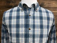 FADED GLORY Men's Long Sleeve 100% Cotton Blue Plaid Button Front Size XL