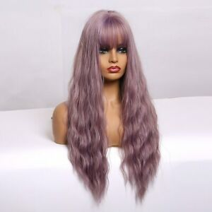 US 24inch Cosplay wig with bangs no lace Synthetic hair Purple Potato Women