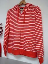 Ladies Lovely George Coral Pink/White Striped Zip Hooded Cardigan Size 12, Bnwot