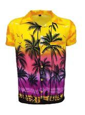 Mens Hawaiian Shirt Stag Beach Hawaii Aloha Party Summer Holiday Fancy S -xxl D1 Yellow Palm 2xl