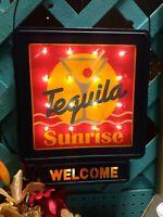 Vintage Tequila Sunrise Welcome light up hanging sign restaurant bar pool WORKS!