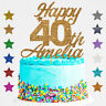 Personalised Happy 40th Birthday Glitter Cake Topper Customised  Any Age  18 21