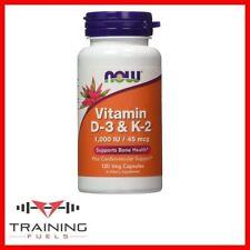 Now Foods Vitamina D-3 & K2 120 Veg Caps, apoya la salud ósea