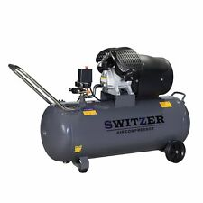 SwitZer Air Compressor 100L Litre 3HP 8 BAR 230V 14CFM With Wheel AC005 Grey