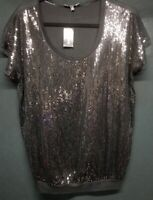 EXPRESS Women's Black Sequined NWT Dolman Sleeve Knit Dressy Top Size S